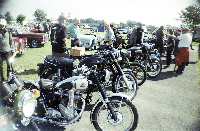 A line up of classic motorbikes