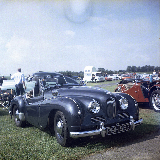 A Jowett Jupiter sports car on display at Croft