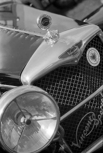 The grill and headlight of a Vincent sportscar