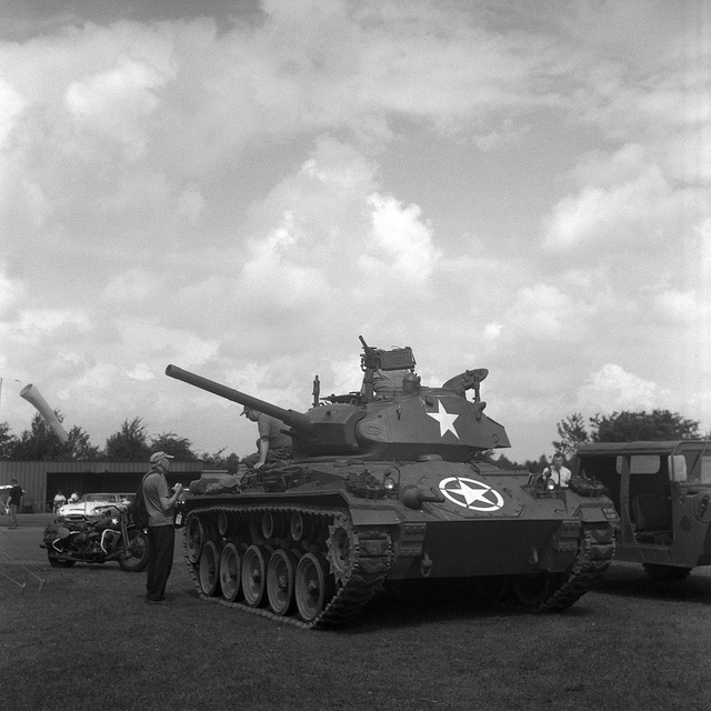 A WW2 tank in black and white from the Croft Nostalgia 2012