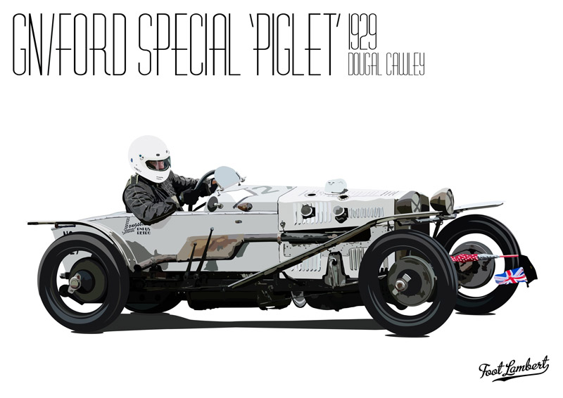 The GN/Ford illustration of the Piglet VSCC car driven by Dougal Cawley