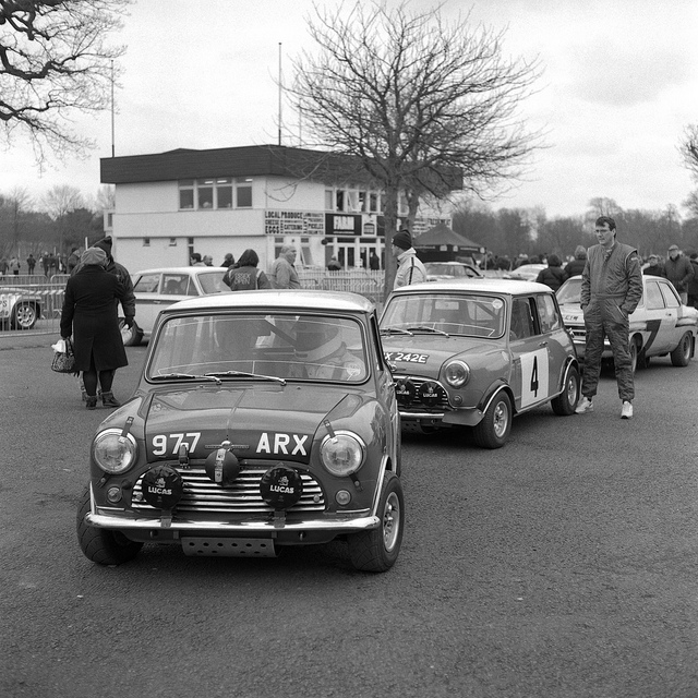 Mini Coopers at Race Retro in black and white