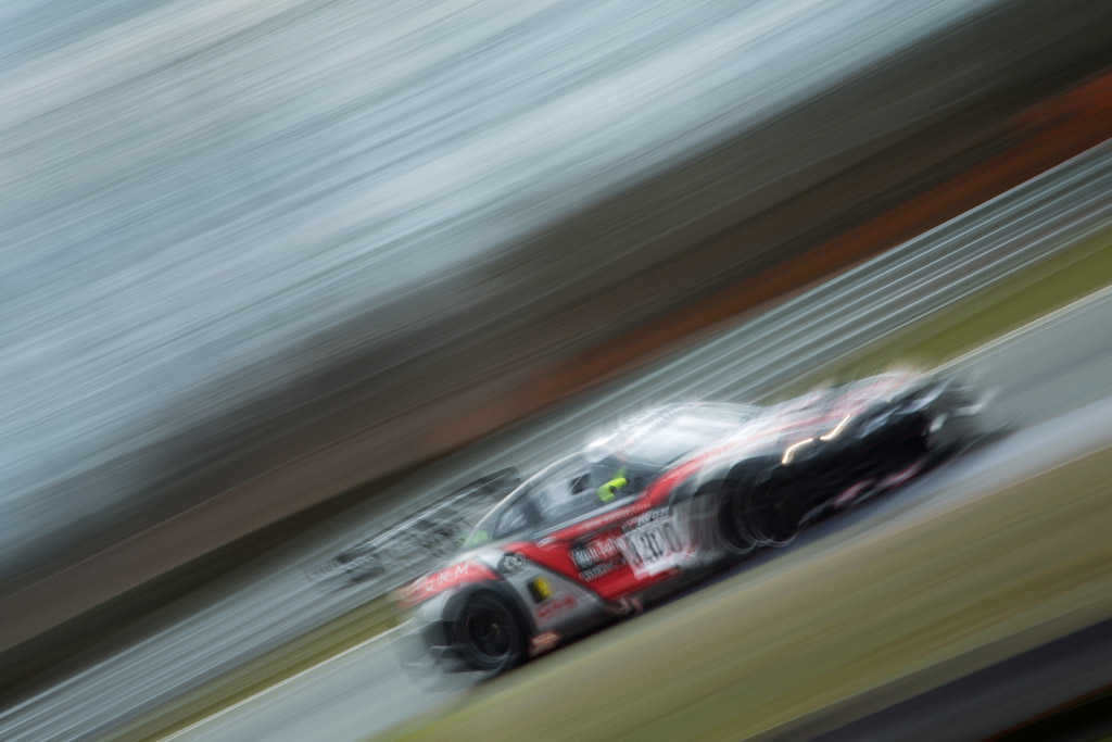 The Nissan GT-R heads into Druids at Oulton Park, photographed in a superblur fashion.