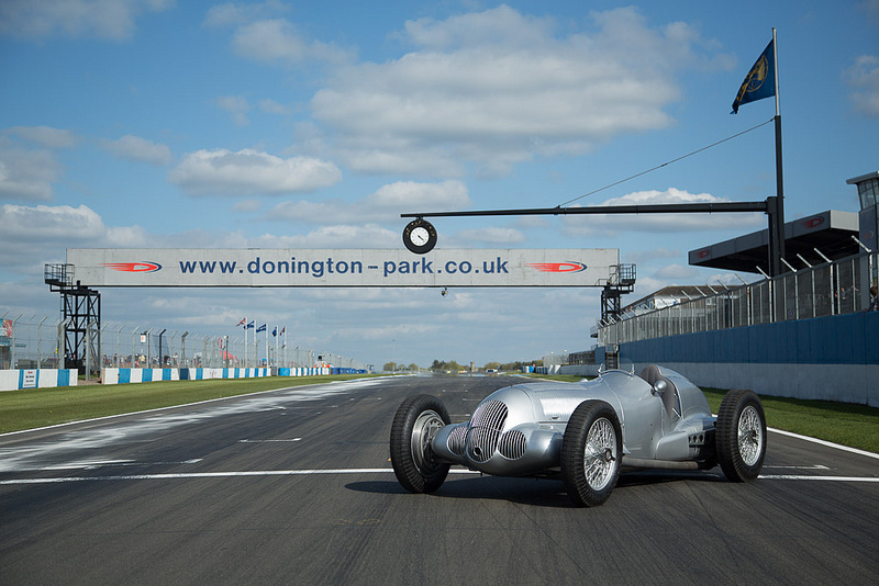 A Silver Arrows W125 sits on the grid hatching at Donington.