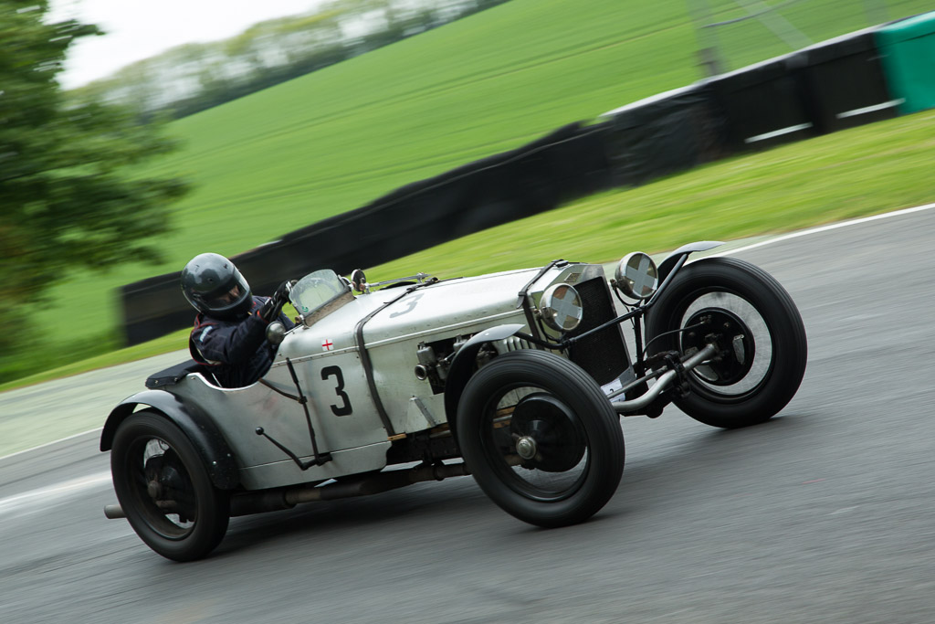 The Frazer Nash of Jonathan Cobb getting sideways at Cadwell Park.