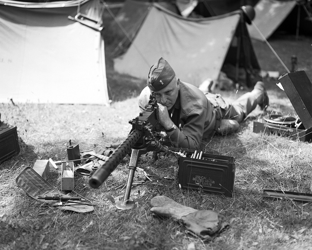 Machine gunner at Crich 1940s weekend - Fine Art Photography
