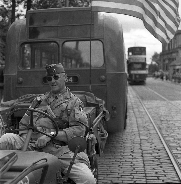 Soldier in a Jeep at Crich Tramway 1940s weekend - Fine Art Photography