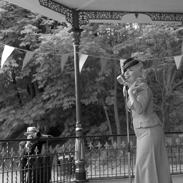 Jazz singer at Crich Tramway 1940s weekend - Fine Art Photography