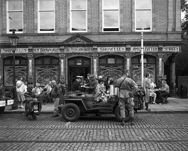 Army jeep outside the Red Lion pub at Crich Tramway 1940s weekend - Fine Art Photography