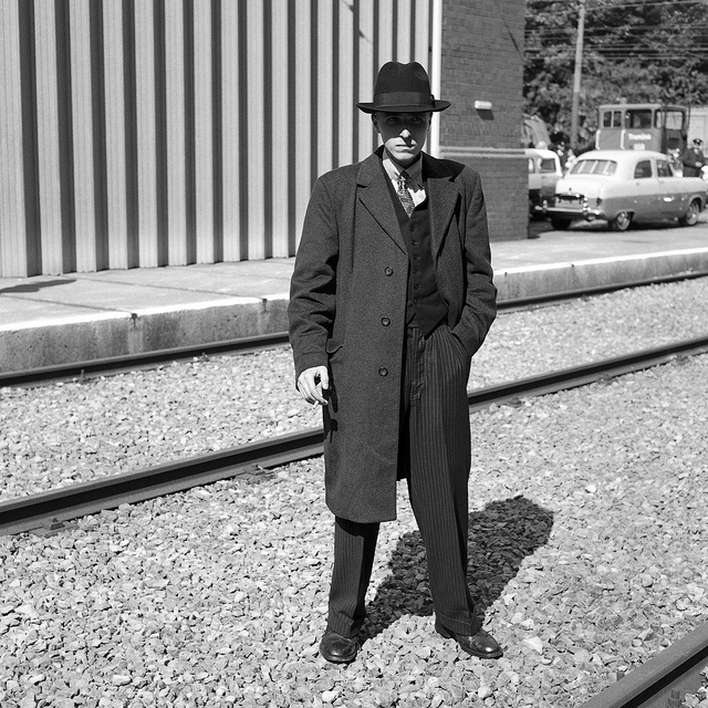 A man at the Crich Tramway 1950s event.