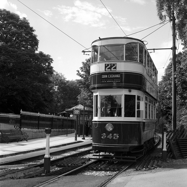 Tram at the Crich tramway museum - film photography