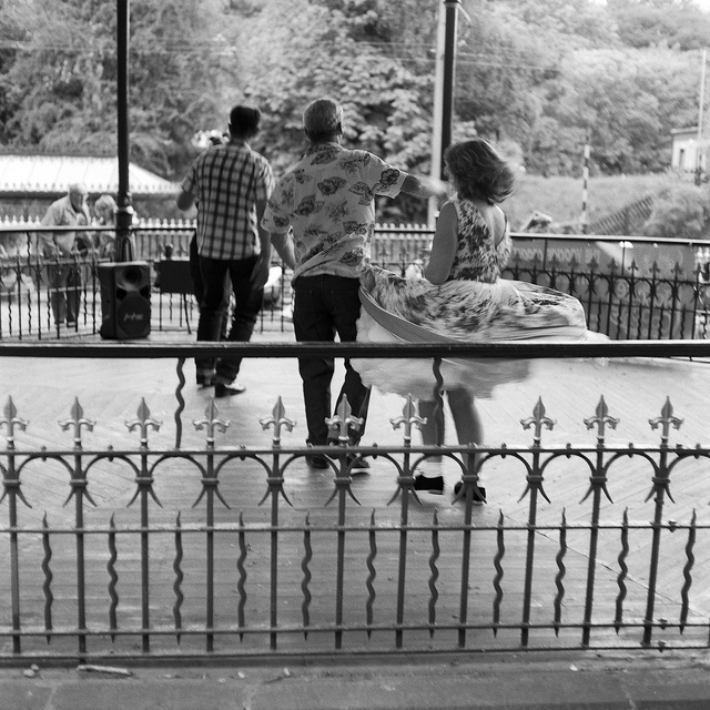 People dancing at Crich Tramway - film photography