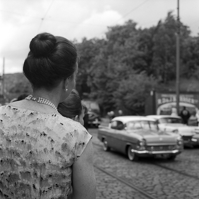 Ladies watching the car parade at Crich - film photography
