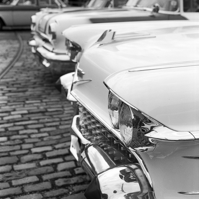 American car grills at Crich Tramway - film photography