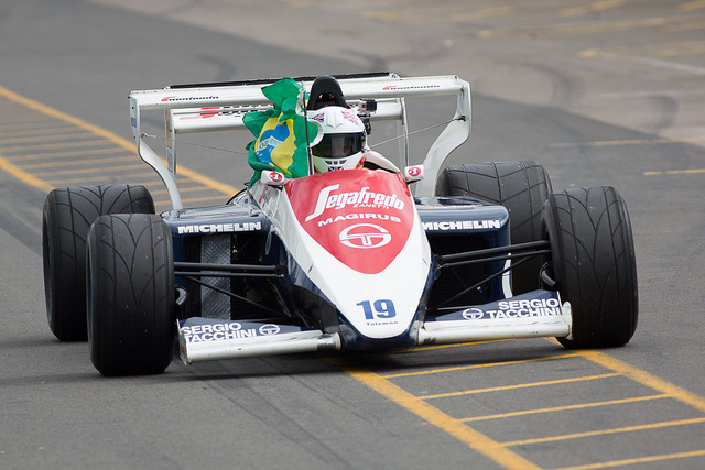 Senna's Toleman in the pits