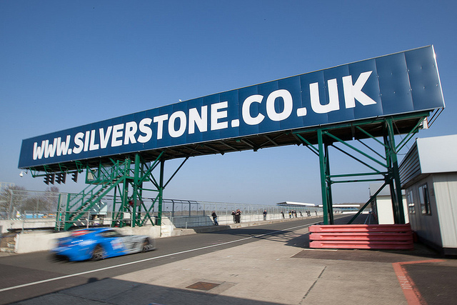 Silverstone gantry with Ginetta underneath - motorsport photography