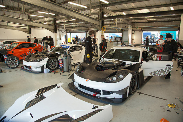 Ginetta cars in the pits - motorsport photography