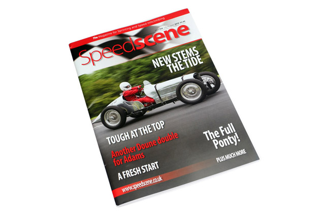 Front cover of Speedscene magazine featuring a vintage MG