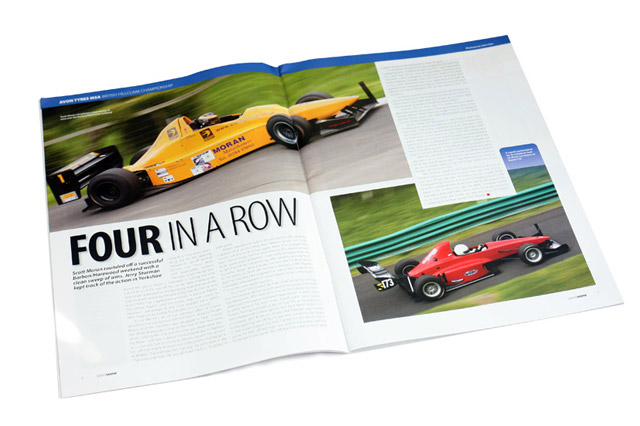 Double page spread featuring my images from Harewood Hillcimb