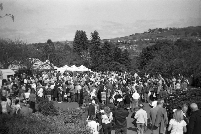 Crowds at Haworth 1940s weekend taken on a Box Brownie