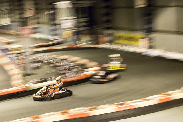 Kart racing through esses at PPiK Leeds