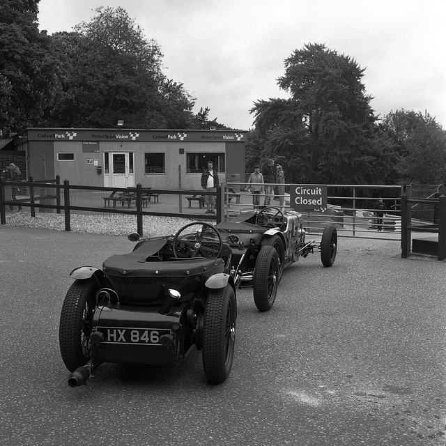 Frazer Nash cars waiting to go out at Cadwell Park