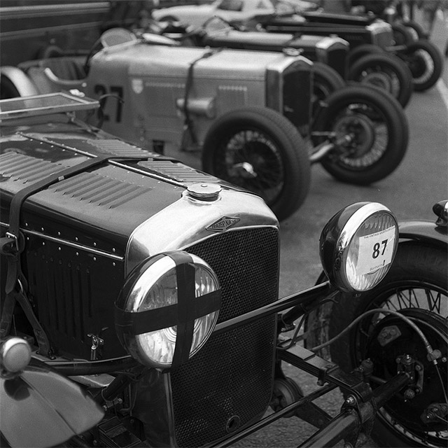 Line up of Frazer Nash cars at Cadwell Park
