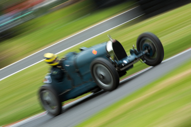 Bugatti at speed at Cadwell Park