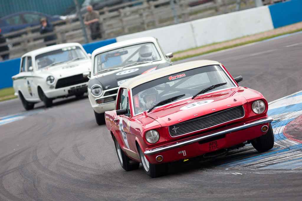 Three classic touring cars at the chicane at Donington Park,