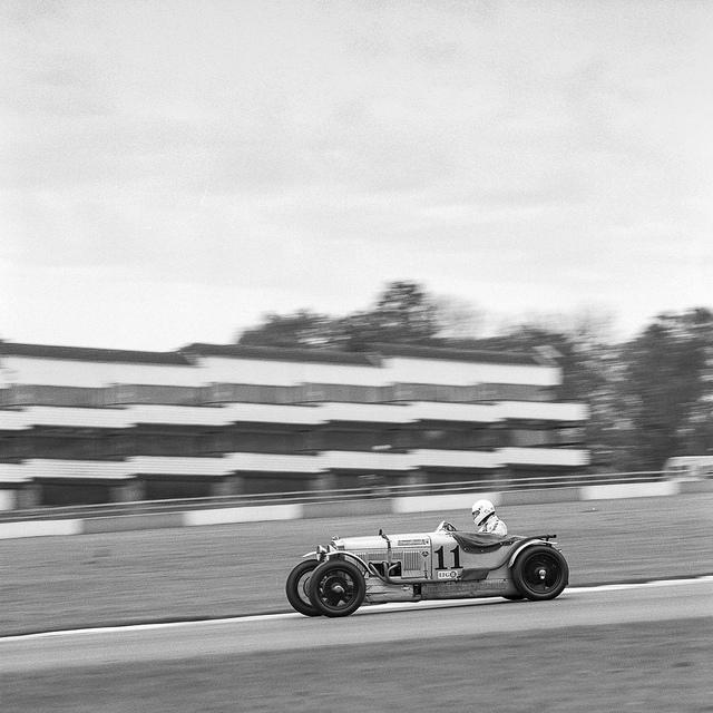 Frederick Wakeman in the Frazer Nash Super Sports through the Craner Curves at Donington Park.