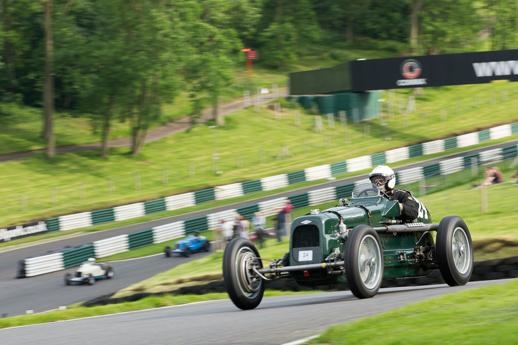 Eddie Gibbs racing in the Frazer Nash SS at Cadwell Park