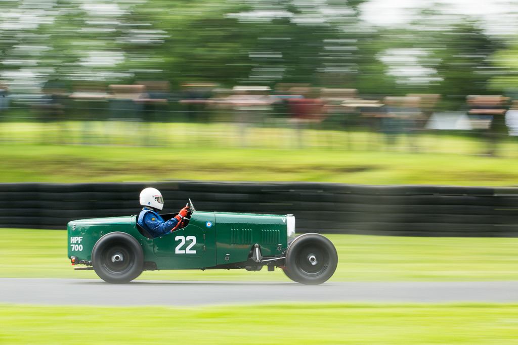 William Mahany in the HRG Le Mans Model races on a drying track at Cadwell Park