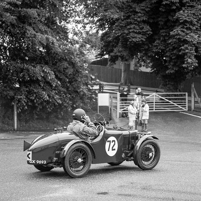 Duncan Potter in the MG getting ready to join the track at Cadwell Park