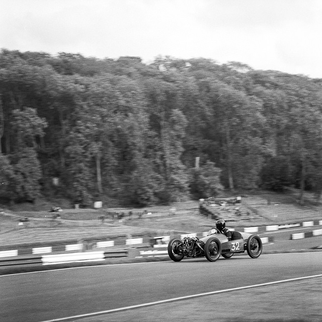 The Morgan Special of Charlie Martin  races past at Cadwell Park