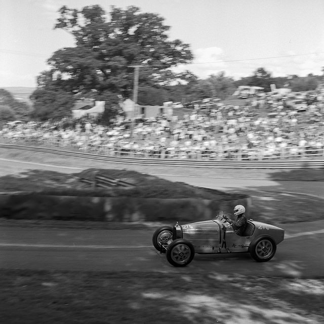 Mike Marshall in the Bugatti at Prescott.