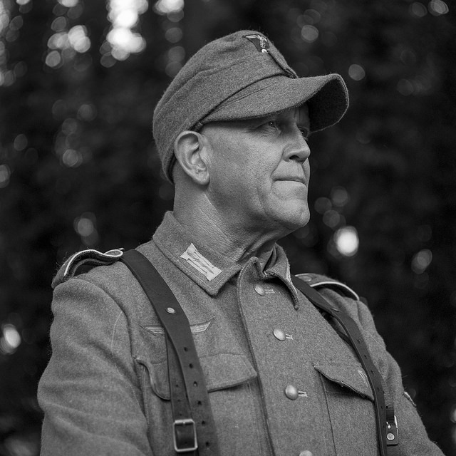 A re-enactor dressed as a German WW2 soldier.