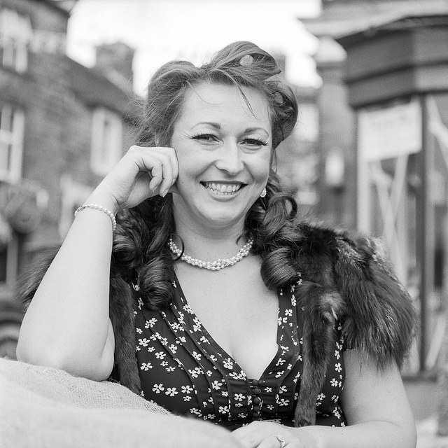 Singer Kitty LaMare at Pateley Bridge 1940s event. - Fine Art Photography PAteley Bridge