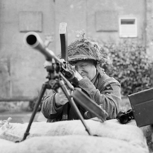 Soldier looking dowmn the sights of a Bren gun at Pateley Bridge 1940s event - Fine Art Photograph Pateley Bridge