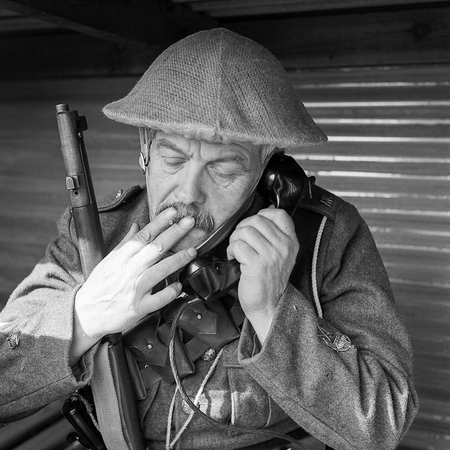 A WW1 re-enactor in a trench hut at the Apedale WW1 Tracks to Trenches event. WW1 Photography.