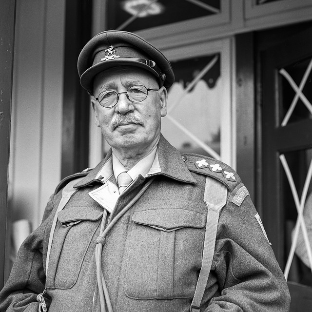 A re-enactor that looks like Captain Mainwaring from Dad's Army at the Embsay Bolton 1940s weekend.
