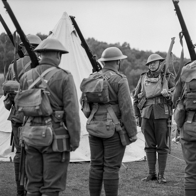 Troops taking part in a drill at the Apedale Valley Railway Tracks to the Trenches WW1 event - WW1 Photography