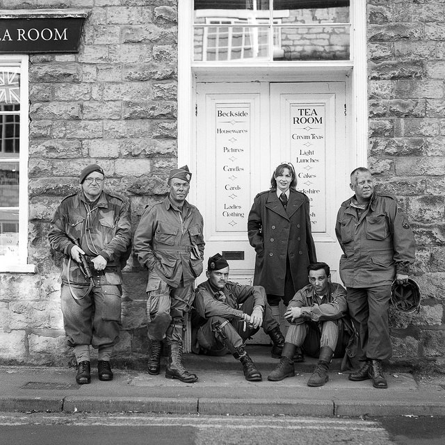 Re-enacters outside a tearoom at the Pickering 1940s weekend.